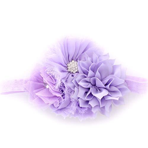 My Lello Baby Headband Shabby Fabric Flower Cluster Stretchy Elastic Lavender
