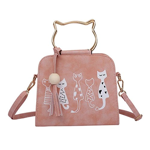 Messenger body Tote Pink Leather Cat Purses for Bag Handbag Cute Girl Shoulder Pink Women Cartoon Cross ChainSee fE8vBB