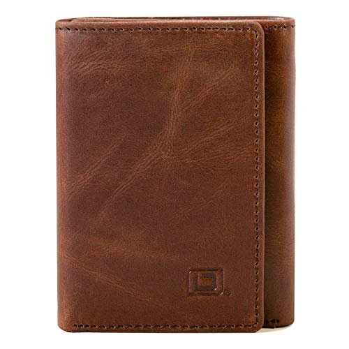 Slim RFID Blocking Trifold Wallet for Men - Genuine Buffalo Leather - Whiskey - Wallet Three Fold Mens