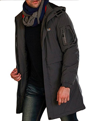 M&S&W Men's Windproof Hooded Thick Duck Down Long Down Coat Jacket Gery
