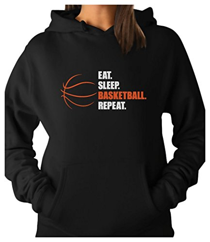 TeeStars - Eat Sleep Basketball Repeat - Gift for Basketball Fans Women Hoodie Large Black