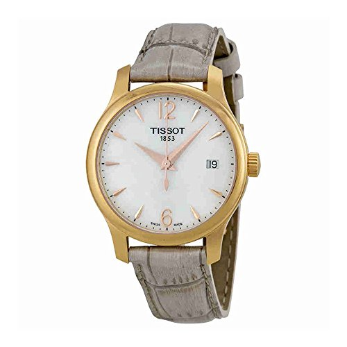 Tissot Tradition MOP Dial SS Leather Quartz Ladies Watch (Leather White Mop Dial)