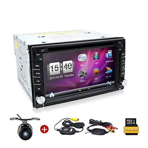 Wireless Backup Camera included!6.2 Inch Double DIN Car Stereo GPS Navigation in Dash Vehicle Dvd Player Touch Screen Autoradio with Bluetooth USB Sd Mp3 Player for Universal Car Free Backup Camera