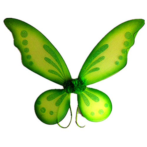 Attitude Studio Butterfly Pixie Fairy Glitter Wings, Lightweight Elastic Straps, Mesh Angel Costume for Party, Pretend Play Dress Up Accessory, Halloween, One Size Fits Little Girls Women - Green ()