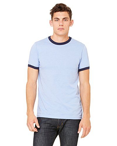 Mens T-shirt Heather Ringer (Bella 3055 Mens Jersey Short Sleeve Ringer Tee - Heather Blue & Navy, Large)
