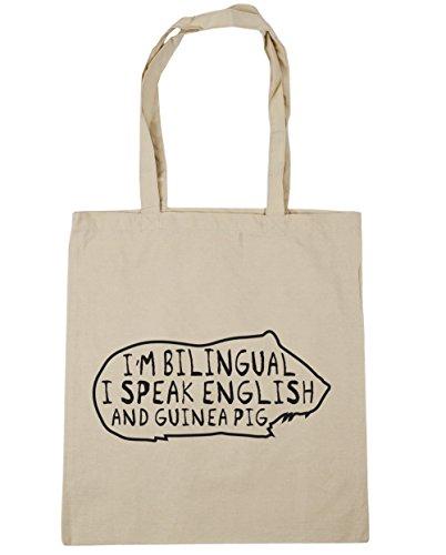 HippoWarehouse I'm Bilingual I Speak English And Guinea Pig Tote Shopping Gym Beach Bag 42cm x38cm, 10 litres Natural