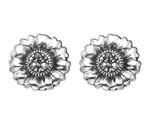 Sterling Silver Marcasite Flower (Small Sterling Silver Marcasite Flower Stud Earrings)