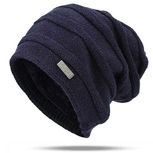 Knitted Winter Hats Women Cotton Beanie Ladie Warm Hats Men Solid Color Unisex Bonnet Fashion Sport Navy