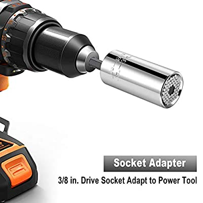 BLENDX Universal Socket Tool Ratchet Universal Socket Set with Wrench Power Drill Adapter - Cool Tool Present for Handyman Men Husband Father Boyfriend Him