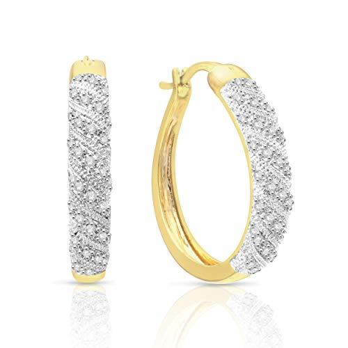 NATALIA DRAKE 1/4cttw Diamond Hoop Yellow Earrings for Women ()