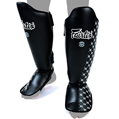Fairtex SP5 Shin Guards Competition Thai Boxing Shin Pads Guards Muay Thai Kick Boxing MMA Protective (Black, Medium)