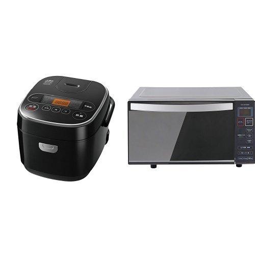 アマゾン限定 マイコン式 炊飯器 5.5合+ミラー調電子レンジ 東日本用 18L ブラック セット   B076Q9MND3