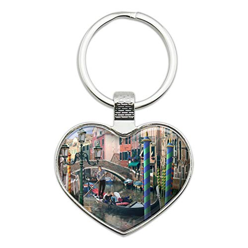 (Venice Italy Gondolas Canals Romantic Heart Love Metal Keychain Key Chain Ring)