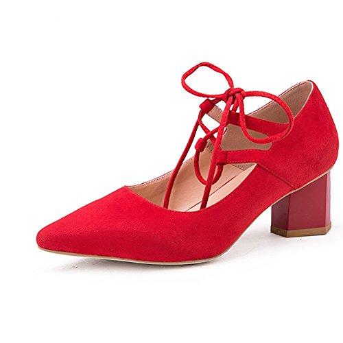 Apuntado EU36 Profundo Color Zapatos Sra De de Tacón Coreana Y Cabeza UK3 5 Tamaño del Primavera Poco Talón Moda tacón Áspero Beige M73139 De Otoño Boca YIXINY Alto Rojo CN35 Versión Zapatos Zapato Pf4wwq