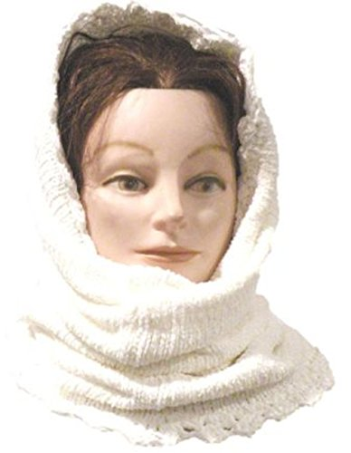 100% Natural Rayon Chenille Heavy Winter Balaclava Neck Warmer Tube Scarf (White Scarf Chenille)