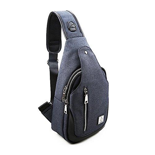 Leparvi Men Canvas Messenger Bag Single Shoulder Bag Casual Cross-body Business Briefcase