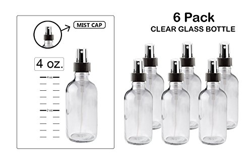Mist spray/ Glass Medicine Bottle, Amber Boston Clear Round Bottles 4OZ. 6Pack - For Essential Oils, Scents, Travel, Perfume Kitchen, Bath, Cooking, Labs, Laundry, Cosmetic.- Re-Usable -By - Treatment Vials 4