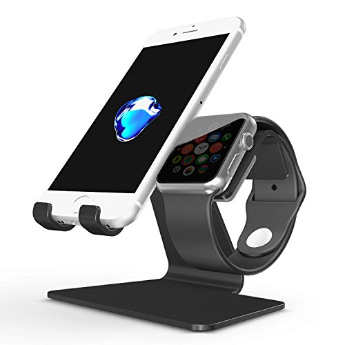 Cheap Stands Apple Watch Stand, OMOTON 2 in 1 Universal Desktop Cell Phone Stand..