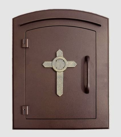 Qualarc MAN1403AC Manchester Column Mount Mailbox With Decorative Cross  Logo In Antique Column Mount Mailbox4