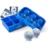 Silicone Cocktail Ice Mold Combo - Silicone Mold Has Ball and 2 Inch Ice Cube Tray - This Jumbo Ice sphere Ice Ball maker Mold makes Round Circular ice cubes and 2-Inch Perfect Ice Cubes
