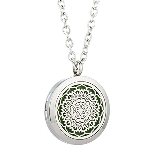 JOYMIAO Essential Oil Diffuser Stainless Steel Necklace with Magnetic Locket Pendant Jewelry 8 (Quality Stainless Steel Pendant)