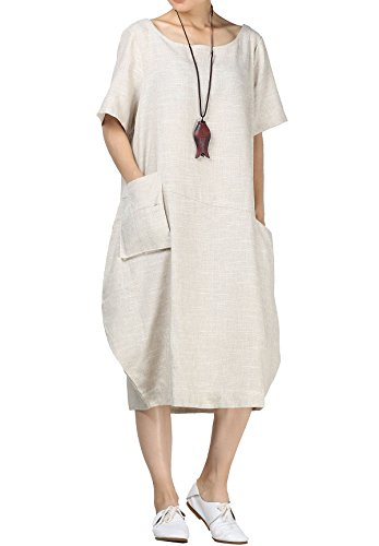 Mordenmiss Women's Cotton Linen Dresses Short Sleeve Baggy Loose Summer Clothing w/Hi-Low Pockets M Beige ()