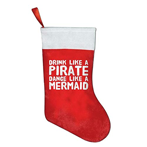 Bralla Drink Like A Pirate Dance Like A Mermaid Christmas Holiday Stockings by Bralla