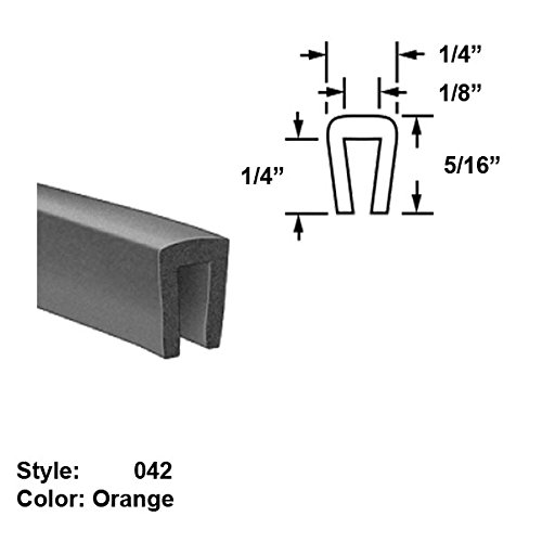 Silicone Rubber High-Temperature U-Channel Push-On Trim, Style 042 - Ht. 5/16'' x Wd. 1/4'' - Orange - 25 ft long by Gordon Glass Co.