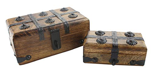 (Pirate Treasure Chest Box Decorative Wood Keepsake Nested Two Pack Pair By Well Pack Box)