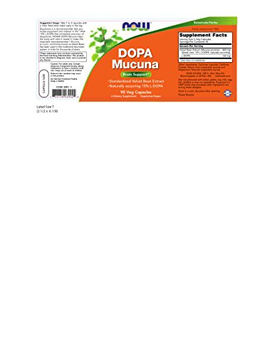 : NOW Supplements, DOPA Mucuna, Standardized Mucuna Extract with Naturally Occurring 15% L-Dopa, 90 Veg Capsules
