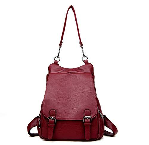 2019 Genuine Leather Backpack Women Shoulder Bag School Backpack Travel Satchel Laptop Bag for Women,Wine red