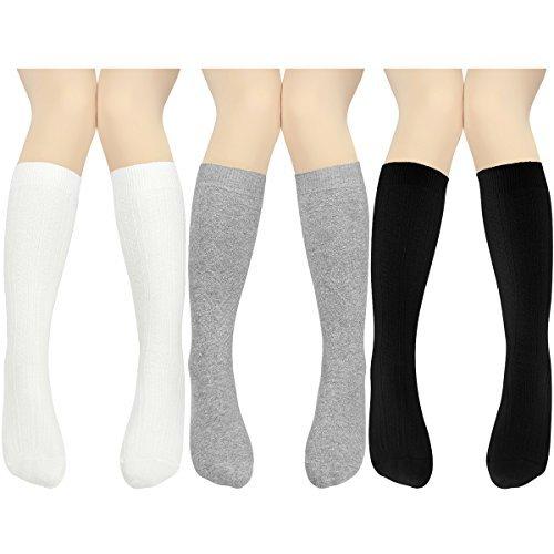 Big Girls' Cable Knit Knee High Socks 10-16 Years Uniform Tube Cotton Socks 3 Pairs (Socks Knee Length)