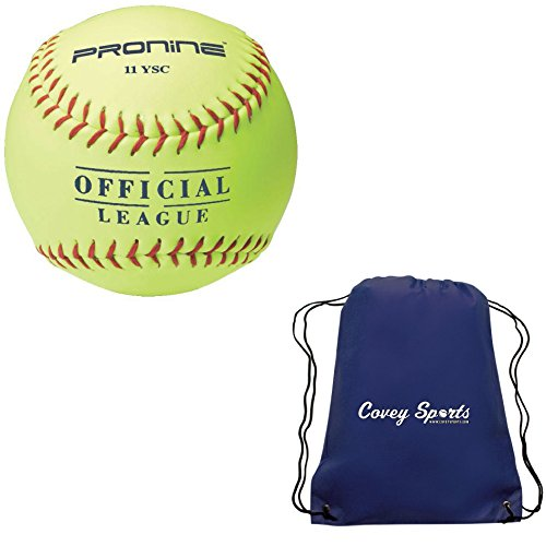 ProNine 11 Inch Indoor/Outdoor Soft-Core Practice Softball for 10U Ages (3-Balls) Bundled with Covey Sports Drawstring Carrying Bag (Indoor Softball)