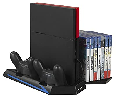 [Upgraded] PS4 Vertical Stand Cooling Fan Kootek® High Efficient Cooler Fan Dual Charging Station with Game Holder for Playstation 4 DualShock 4 Controllers, with Dual USB HUB Charger Ports from Kootek
