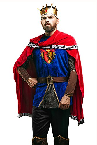 Adult Men Medieval King Costume Noble Lord Sovereign Ruler Dress Up Role Play (Medium/Large, Royal Blue, Crimson Red, (Lord Helmet Halloween Costume)