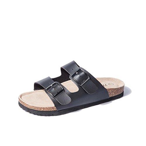 TF STAR Women Arizona 2-Strap Adjustable Buckle, Flat Casual Cork Slide Sandals,Slide Cork Footbed Sandals for Women/Ladies/Girls Black (Birkenstock Arizona Black Leather Two Strap Sandals)