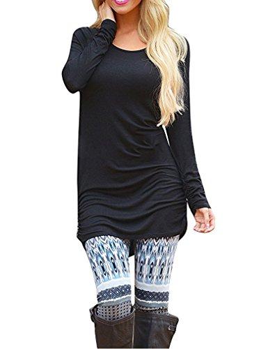 Sherosa Womens Long Sleeve Casual Round Neck Loose Tunic Top Blouse T-Shirt (XXL, Black)