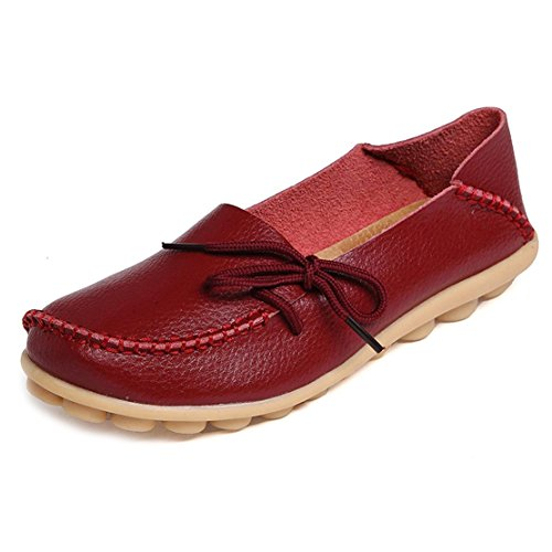 (Women's Leather Loafers Flats Slip On Moccasins Casual Driving Shoes(7.5 B (M) US/Label Size 39,Wine Red))