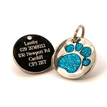 Personalised Engraved 25mm Silver Glitter Paw Print Dog Pet ID Tag Disc.......TO LEAVE ENGRAVING DETAILS PLEASE READ PRODUCT DESCRIPTION LOWER DOWN THIS PAGE. Silver