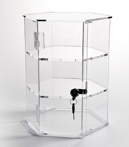 Hexagonal Acrylic Display Case - Locking (HX12 - 12'' tall - 2 shelves) by Choice Acrylic Displays