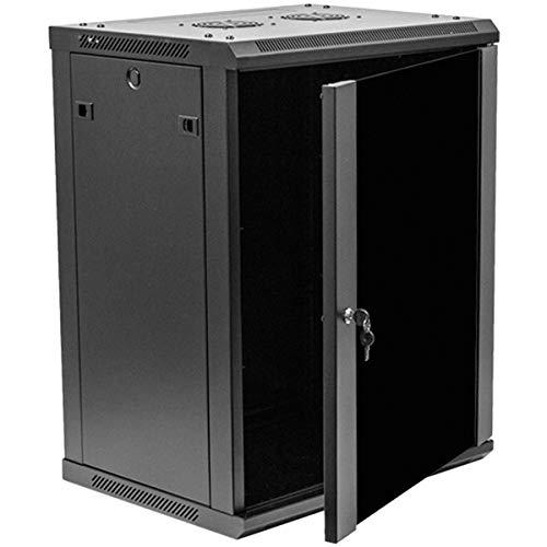 NavePoint 15U Deluxe IT Wallmount Cabinet Enclosure 19-Inch Server Network Rack With Locking Glass Door 16-Inches Deep Black ()