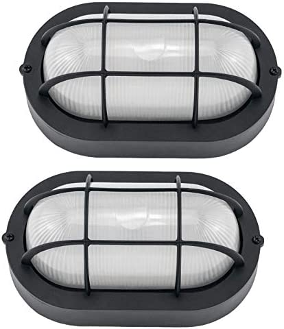 YaoKuem Outdoor LED Bulkhead Light Worked as Outdoor Flush Mount Ceiling Light, Wall Lantern, 6W 520Lumens 5000K Daylight, Dimmable, 2-Pack