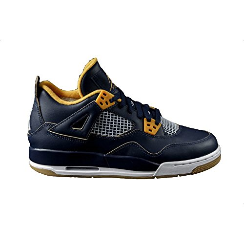 Nike Grade-School Air Jordan IV 4 Retro BG Midnight Navy/Metallic Gold String-Gold Leaf-White Sneakers 6.5 (2014 Jordan Shoes Men)