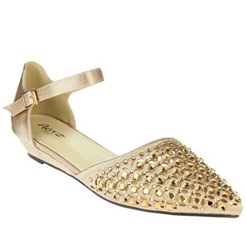 Mujer Señoras Puntiagudo Diamante Bailarina Correa de tobillo Noche Fiesta Boda Nupcial Paseo Casual Sandalias Zapatos Tamaño Oro