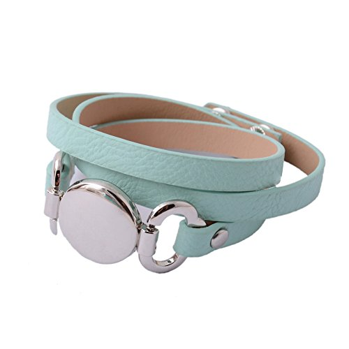 Monogram Leather (Rainbery PU Leather Wrap Bracelet for Monogram Blank Disc (Silver Mint))