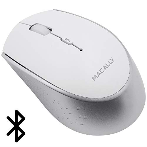 Enabled Laser Bluetooth Windows (Macally Wireless Bluetooth Mouse - Long Lasting Rechargeable Mouse, Easy Cordless Travel - Compatible with BT Devices: Apple Mac Mini iMac MacBook Pro Air Laptop, Windows Desktop PC Computer - White)