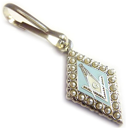 SQUARE AND COMPASS PEARL Masonic Freemasonry Backpack Jacket ZIPPER PULL CLIP