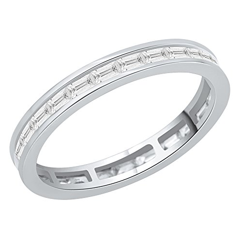 t Diamond Eternity Band in 14K White Gold (5/8 cttw) (K-L, I2-I3) (Size-7.5) ()
