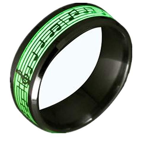 TIDOO Jewelry Piano Music Luminous Glow Ring Punk Musical Note Fluorescence Accessories
