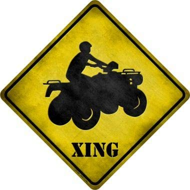 Bargain World 4 Wheeler Xing Novelty Metal Crossing Sign (Sticky Notes) -